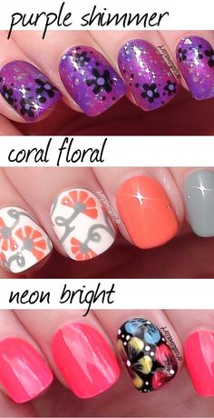 Flower nails 3 ways!  Check out my easy summer flower nail art designs in my Youtube video - http://youtu.be/GuO95FUwzto #easynailart #arcadiaanailart