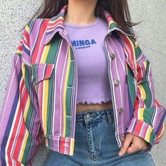 cute scrunched crop pastel shirt with a striped jacket. Indie Outfits, Retro Outfits, Cute Casual Outfits, Vintage Outfits, Girl Outfits, Summer Outfits, Grunge Outfits, Casual Shirts, Tokyo Street Fashion