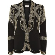 Emilio Pucci Embellished Wool-Blend Jacket ($4,050) ❤ liked on Polyvore featuring outerwear, jackets, blazer, coats, wool blended jacket, embellished jacket, emilio pucci jacket, open front blazer and tailored jacket