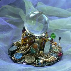 Beaded Decor Gypsy Decor Crystal Ball Holder by mystic2awesome, $15.55  Recycled napkin ring, jewelry pieces, buttons and odds and ends.