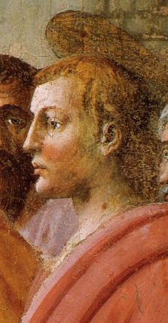 1425 by Masaccio. Death of Ananias fresco, detail with halo. Brancacci Chapel, Santa Maria del Carmine, Florence
