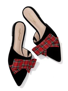 Lyon Velvet Mules in Cuadro Tartan Tartan Shoes, Tartan Plaid, Holiday Shoes, Holiday Outfits, Winter Shoes For Women, Pump Shoes, Women's Shoes, Mules Shoes, Shoe Clips