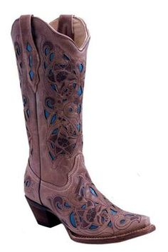 Corral Chocolate Sand Distressed Goat with Turquoise Cowgirl Boots