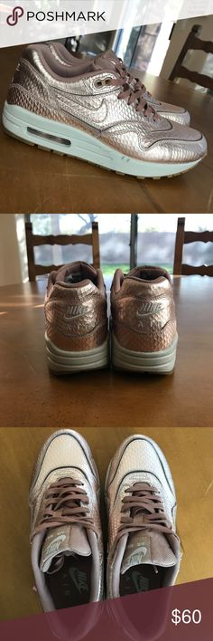 METALLIC BRONZE Women's Nike Air Max 1 Nike Air Max 1 Cut Out PRM Sportswear Shoes Color: Metallic Bronze Size: Women's 8 Excellent used condition   - Stylish and sporty.  - I typically wear an 8.5 in Nike, but I went down to an 8 for these -The toe box is on the narrow side - I've worn these about 4 times, so there are a few small scuffs. There is also some fading  (see pic) -These are just too cute to sit in my closet!! Someone pick these up quick!!! Nike Shoes Sneakers