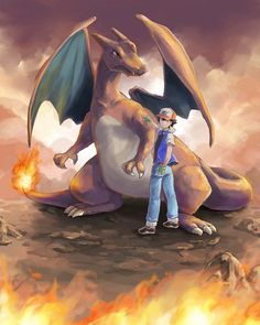 I was never really into Pokemon, but it was just one of those things I would watch sometimes as a kid :) Ash and Charizard Ash Pokemon, Pokemon Fan Art, Kalos Pokemon, Pokemon Charizard, Cute Pokemon, Pikachu, Pokemon Dragon, Nintendo Pokemon, Charmander