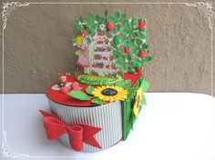 Foam Bow as a pull draw for a Strawberry Garden Drawer Box Foam Crafts, Paper Crafts, Strawberry Garden, Crackle Painting, Altered Tins, Embossed Paper, Card Making Tutorials, Pop Up Cards, Wooden Hearts