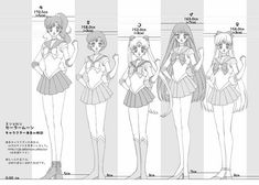 Ok so in the manga jupiter and venus are taller the rest are kinda the same. Im going highest to lowest: jupiter,venus,mercury,mars,moon Sailor Moon Quotes, Sailor Moon Fan Art, Sailor Moon Character, Sailor Moon Manga, Sailor Moon Crystal, Sailor Jupiter, Sailor Venus, Sailor Mars, Sailor Moon Coloring Pages