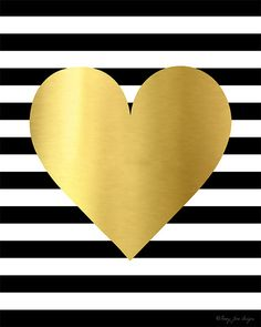 Gold Heart Black and White Stripes Printable by PennyJaneDesign