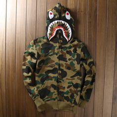 8f0bb8344cda18 Men s Bape Shark Hoodie Sz High quality Men s full zipper bape shark hoodie  camouflage Army Military fleece hoodies and sweatshirts winter mens camo  jacket ...