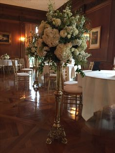 Wedding centerpiece  Whites and golds