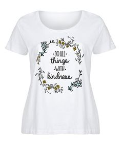 57b9e7b40cb White  Do All Things with Kindness  Tee - Girls