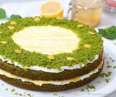 Green velvet taart met lemon curd Zucchini Chips, Green Velvet Cake, Salty Snacks, Avocado Toast, Breakfast, Desserts, London, Vanilla, Kitchens