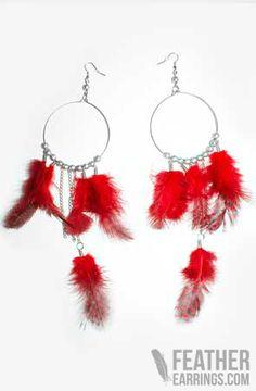Cute :) Red Hoop Pearl Feather Earrings $24.99
