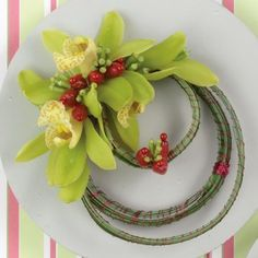 Orchid Corsage - bullion wire wrapped decorative grass/green Cymbidum orchids