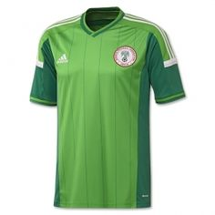 Nigeria 2014 World Cup Home and Away Kits unveiled. The new Nigeria 2014 World Cup Kit features a light green main color and comes with dark green pinstripes. Nigeria 2014 World Cup Away Jersey is white. Football Design, Football Kits, Football Jerseys, Worldcup Football, Football Uniforms, World Cup Shirts, World Cup Jerseys, Soccer Shirts, Sports Shirts