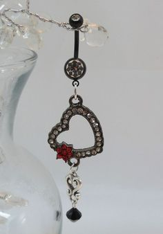 Belly button ring with black heart, belly ring with crystal heart 14ga