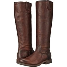Frye Jenna Inside Zip (Dark Brown Full Grain Leather) Women's Boots (3,495 MXN) ❤ liked on Polyvore featuring shoes, boots, brown, knee-high boots, knee high riding boots, faux-fur boots, zip ankle boots, brown knee boots and stacked heel boots