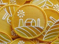Embroidered Patch designed by Kyle Anthony Miller. Connect with them on Dribbble; the global community for designers and creative professionals. Custom Embroidered Patches, Sun Logo, Farm Logo, Patch Design, Pin And Patches, Sewing Toys, Window Decals, Icon Design, Sewing Projects