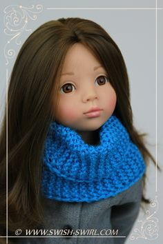 Highlands Cowl modelled on #gotz doll . Pattern by #swishandswirl