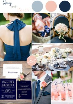 navy blue and peach inspired wedding color ideas and wedding invitations