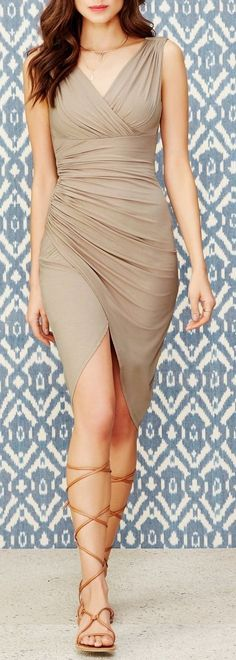 |Camel Ruched Draped Dress