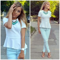 Zara White Peplum Top