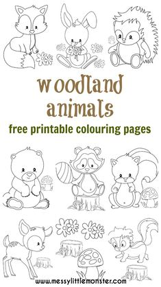 woodland animal colouring pages to be downloaded (for free) and printed out. They include a fox, a hedgehog, a deer, a rabbit, a squirrel, a bear, a raccoon, and a skunk. Toddlers and preschoolers will love these adorable animals.