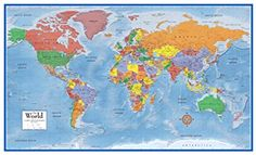 Wall Map like the one in my room! 48x78 World Classic Premier Wall Map Mega Poster Laminated