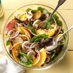 Spinach & Bacon Salad with Peaches Recipe -Peaches and bacon? Oh, yeah. I made this family favorite for a big summer party. It was so easy to prep the parts separately, then toss it all together right before chow time. —Megan Riofski, Frankfort, Illinois