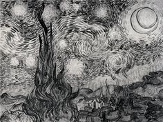 The Starry Night - Vincent van Gogh - preparatory sketch