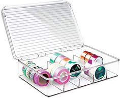 mDesign Plastic Art Supplies, Crafts, Crayons and Sewing Stacking Storage Organizer Box Container Holder Tidy with lid for organizing Washi Tapes Small Marker Ribbons Trims Beads - Divided, Clear Container Organization, Craft Organization, Organizing Tips, Filofax, Washi Tape Storage, Craft Room Storage, Craft Rooms, Organiser Box, Arts And Crafts Supplies