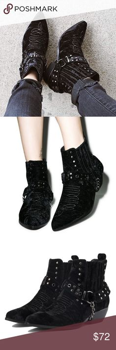 Velvet laso booties black boots YRU dollskill 7 Super cute cowgirl cowboy cutoff boots have been worn a handful of times but in amazing condition! YRU Shoes Ankle Boots & Booties