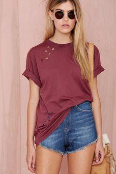 After Party Vintage Essential Tee - Burgundy