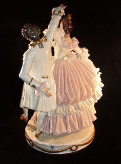 Amazing Large Vintage Dresden Lace Porcelain Group Figurine of Couple Dancing | eBay