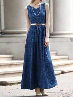 Blue Sleeveless Viscose Maxi Dress