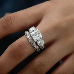 Princess Cut Three-stone Sterling Silver Engagement Rings for Valentines Gift