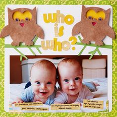 Twins Scrapbook Page Who is who?