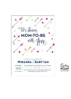 Arrow Baby Shower Invitation / Let's shower baby with love with this invite made up of a kaleidoscope of colorful arrows and hearts. Tribal / Aztec / Indian inspired shower that any Boho / Bohemian mommy-to-be will love / by LuckyPlumStudio