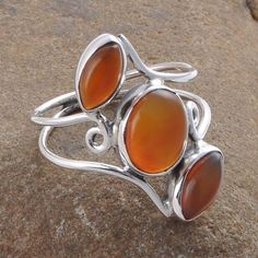RED ONYX CAB STONE 925 SOLID STERLING SILVER 2.80g RING R01275 #Handmade #Ring