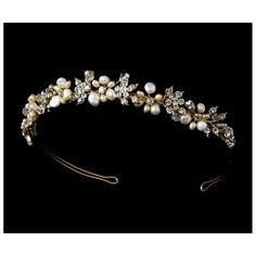 Second Glance Fashions - Gold Pearl Crystals Bridal Wedding Bridal Headband Tiara