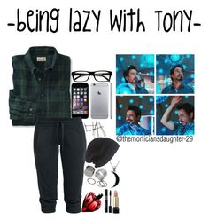 """""""Imagine-""""being lazy with Tony-"""" by themorticiansdaughter-29 ❤ liked on Polyvore featuring Laundromat, Pieces, Carolina Glamour Collection, Lancôme, women's clothing, women, female, woman, misses and juniors"""