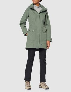 Shop Trespass Women's Rainyday Waterproof Jacket with Concealable Hood. S 10, S Star, Rainy Days, Fabric Material, Movies And Tv Shows, Basil, Military Jacket, Raincoat, Outdoors