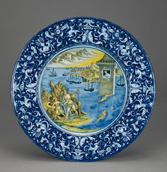 Plate with Hero and Leander; Unknown; Faenza, Emilia-Romagna, Italy; about 1525; Tin-glazed earthenware; 3.8 x 44 cm (1 1/2 x 17 5/16 in.); 84.DE.113; J. Paul Getty Museum, Los Angeles, California