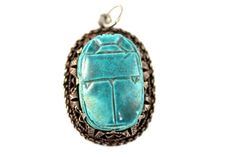#Vintage #Sterling #Silver #Turquoise #Ceramic #Egyptian #Scarab #Beetle #Pendant #Good #Luck #Bug