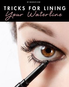 Waterproof eyeliner, qtips, and eye shadow help keep the eyeliner in place - even when you use it on the waterline. Great tips for eyeliner! All Things Beauty, Beauty Make Up, Hair Beauty, How To Apply Eyeliner, Eyeliner Brush, Eyeliner Pencil, Best Eyeliner For Waterline, Applying Eyeliner, Brown Eyeliner