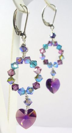 Gypsy Rose Love Earrings - Wild Swarovski Crystal and Sterling Silver... by SLCDesignsUK