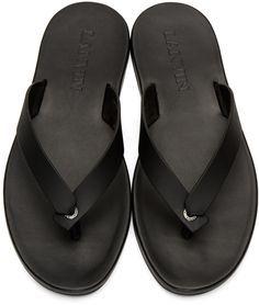 4a41bdfff6d3f9 Lanvin - Black Leather Sandals Black Leather Sandals