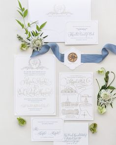 Custom Calligraphy Wedding Invitation Suite designed by Kara Anne Paper. How pretty is this steel blue silk ribbon with this chic wax seal monogram?
