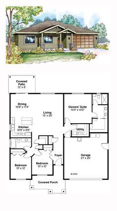 Contemporary House Plan 59411 | Total Living Area: 1501 sq. ft., 3 bedrooms and 2 bathrooms. #contemporaryhome
