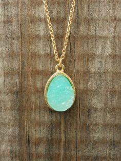 Sparkling Lake Druzy Necklace [2987] - $12.00 : Vintage Inspired Clothing